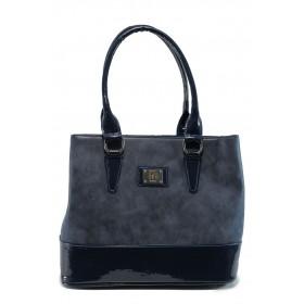 Дамска чанта - висококачествена еко-кожа в съчетание с еко кожа-лак - тъмносин - EO-9658