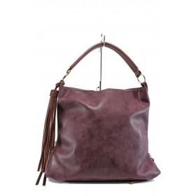 Дамска чанта - висококачествена еко-кожа - бордо - EO-9660