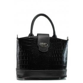 """Дамска чанта - еко-кожа с """"кроко"""" мотив - черни - EO-9672"""