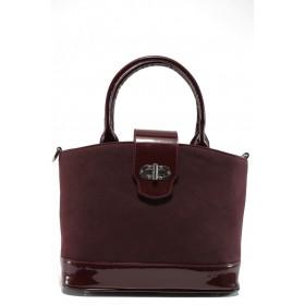 Дамска чанта - висококачествен еко-велур и еко кожа-лак - бордо - EO-9673