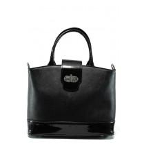 Дамска чанта - висококачествена еко-кожа в съчетание с еко кожа-лак - черни - EO-9674