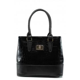 """Дамска чанта - еко-кожа с """"кроко"""" мотив - черни - EO-9675"""