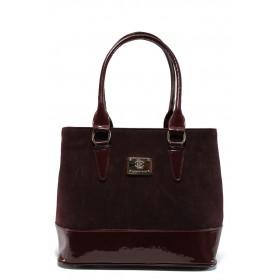 Дамска чанта - висококачествен еко-велур и еко кожа-лак - бордо - EO-9676