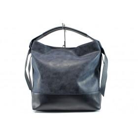 Дамска чанта - висококачествена еко-кожа - сини - EO-9710