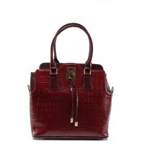 """Дамска чанта - еко-кожа с """"кроко"""" мотив - бордо - EO-9741"""