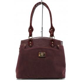 Дамска чанта - висококачествена еко-кожа и велур - бордо - EO-9738