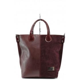 Дамска чанта - висококачествена еко-кожа и велур - бордо - EO-9737