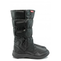 Дамски ботуши - висококачествен текстилен материал - черни - EO-7873