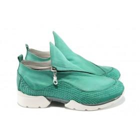 """Равни дамски обувки - естествена кожа с """"кроко"""" мотив - зелени - EO-7906"""