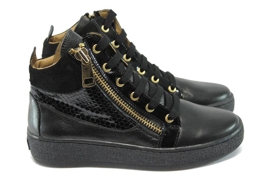 Равни дамски обувки - естествена кожа с естествен лак - черни - EO-7905