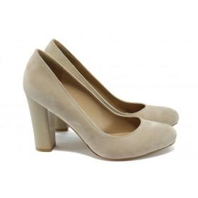 Дамски обувки на висок ток - набук - бежови - EO-7909