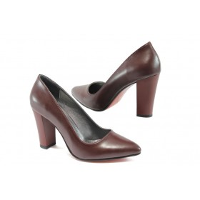 Дамски обувки на висок ток - висококачествена еко-кожа - бордо - EO-7915