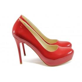 Дамски обувки на висок ток - висококачествена еко-кожа - червени - EO-7916