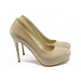 Дамски обувки на висок ток - висококачествена еко-кожа - бежов - EO-7917