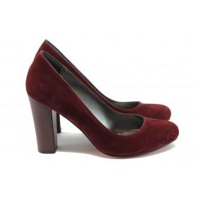 Дамски обувки на висок ток - набук - бордо - EO-7911