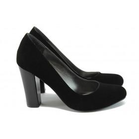 Дамски обувки на висок ток - набук - черни - EO-7910