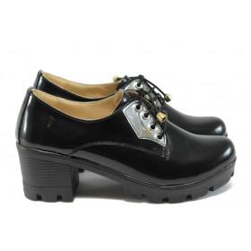 Дамски обувки на среден ток - висококачествена еко-кожа - черни - EO-7918