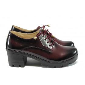Дамски обувки на среден ток - висококачествена еко-кожа - бордо - EO-7919