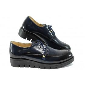 Равни дамски обувки - висококачествена еко-кожа - сини - EO-7920