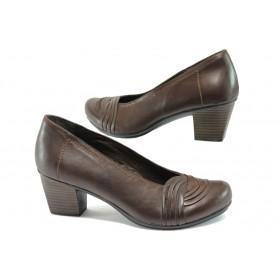 Дамски обувки на среден ток - естествена кожа - кафяви - EO-7923