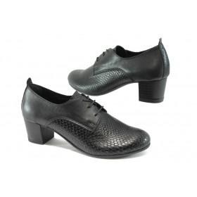Дамски обувки на среден ток - естествена кожа - черни - EO-7924