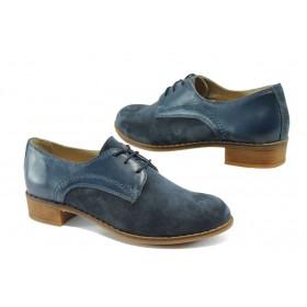 Равни дамски обувки - естествена кожа с естествен велур - сини - EO-7928