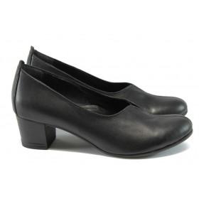 Дамски обувки на среден ток - естествена кожа - черни - EO-7930
