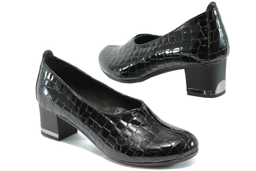 Дамски обувки на среден ток - естествена кожа-лак - черни - EO-7931