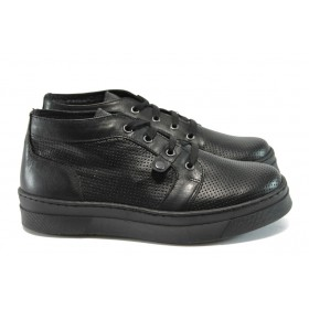 Равни дамски обувки - естествена кожа - черни - EO-7933