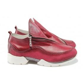 """Равни дамски обувки - естествена кожа с """"кроко"""" мотив - червени - EO-7944"""