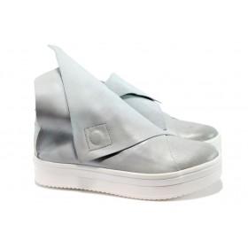 """Равни дамски обувки - естествена кожа с """"кроко"""" мотив - червени - EO-7945"""