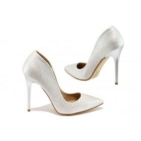 Дамски обувки на висок ток - висококачествена еко-кожа - сиви - EO-7964