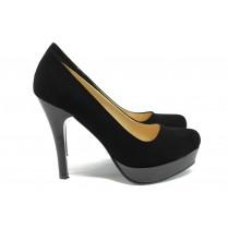 Дамски обувки на висок ток - висококачествен еко-велур - черни - EO-9913