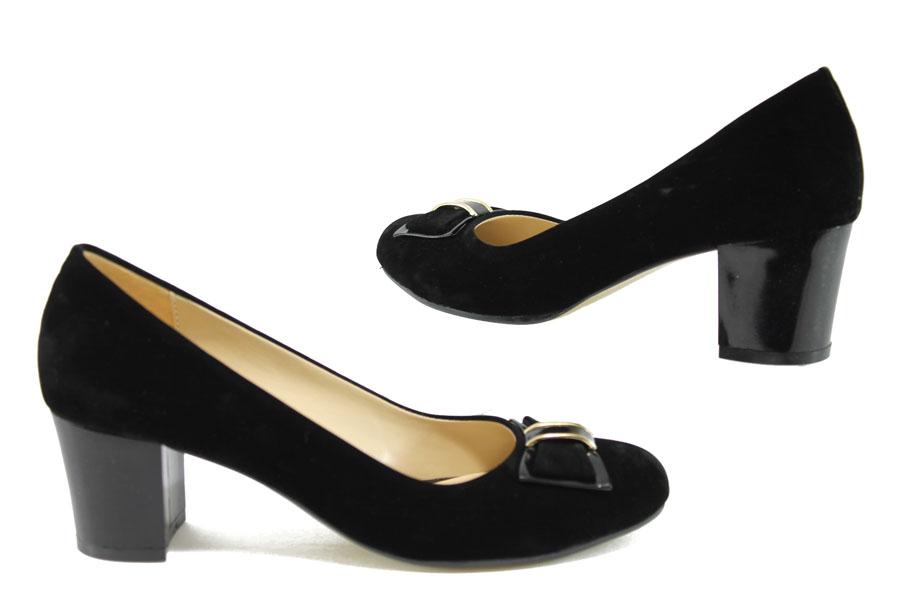 Дамски обувки на среден ток - висококачествен еко-велур - черни - EO-7956