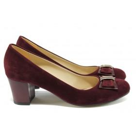 Дамски обувки на среден ток - висококачествен еко-велур - бордо - EO-7957