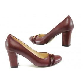 Дамски обувки на висок ток - висококачествена еко-кожа - бордо - EO-7959