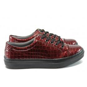 """Равни дамски обувки - еко-кожа с """"кроко"""" мотив - бордо - EO-7955"""