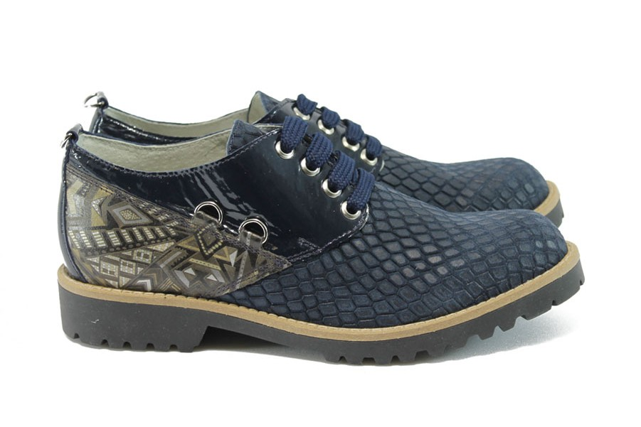 Равни дамски обувки - естествена кожа - тъмносин - EO-8119