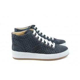 Равни дамски обувки - естествена кожа - тъмносин - EO-8120