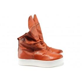Равни дамски обувки - естествена кожа - червени - EO-8148