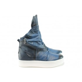 Равни дамски обувки - естествена кожа - сини - EO-8147