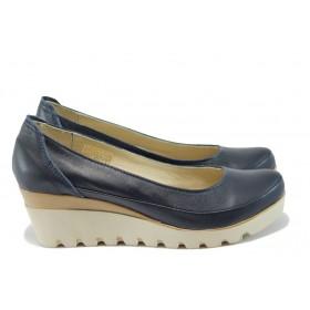 Дамски обувки на платформа - естествена кожа - сини - EO-8162