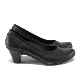 Дамски обувки на среден ток - естествена кожа - черен - EO-8165