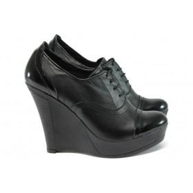 Дамски обувки на платформа - естествена кожа - черен - EO-8166