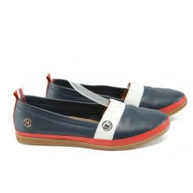Равни дамски обувки - естествена кожа - сини - EO-8176
