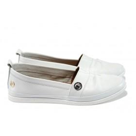 Равни дамски обувки - естествена кожа - бели - EO-8175
