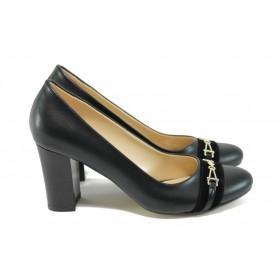Дамски обувки на висок ток - висококачествена еко-кожа - черни - EO-8178