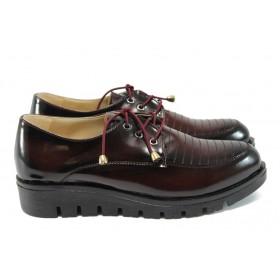 Равни дамски обувки - висококачествена еко-кожа - бордо - EO-8174
