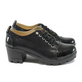 Дамски обувки на среден ток - еко кожа-лак - черни - EO-8172