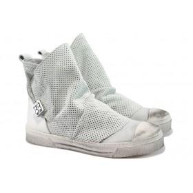 Дамски кецове - естествена кожа - бели - EO-8236